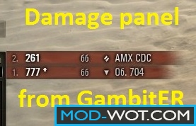 Damage panel (damage received) from GambitER for WoT 0.9.22.0.1