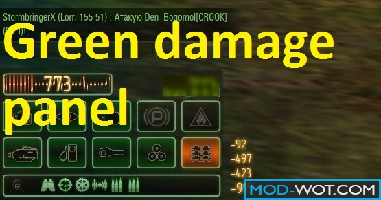 Green damage panel Z-MOD for World Of Tanks 0.9.14.1